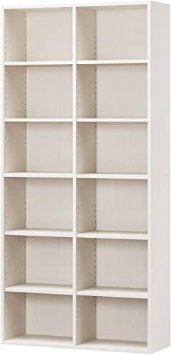 こだわりの白井産業ラック 本棚 ホワイト 白木目 約 幅90 奥行30 高さ180 cm (AMZ-1890WH)